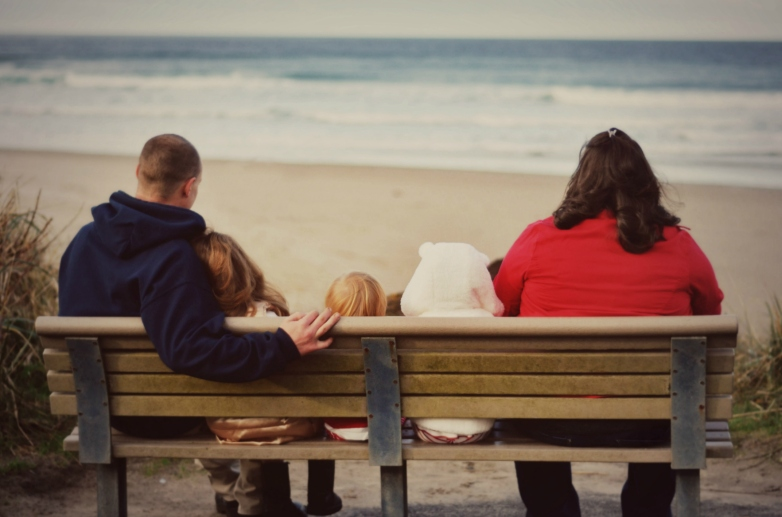 All on Bench at Beach